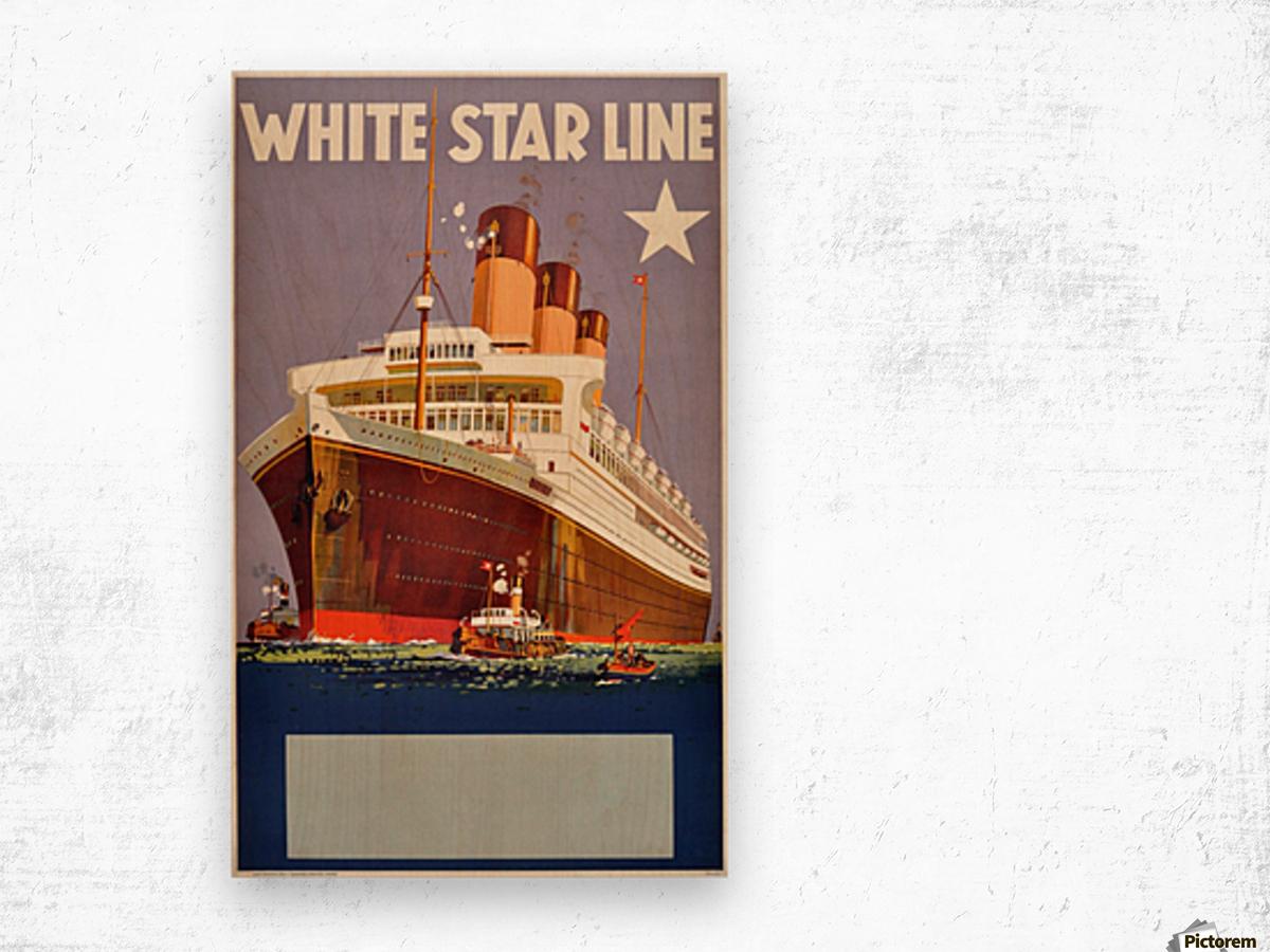 Original Vintage 1920 Travel Advertising Poster For White Star Line Cruises Wood print