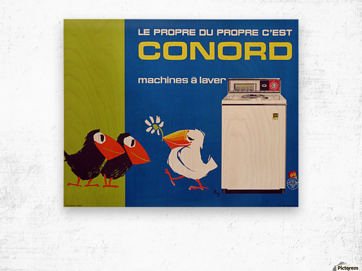 Original Appliance Poster, Conord Birds, 1960 Wood print