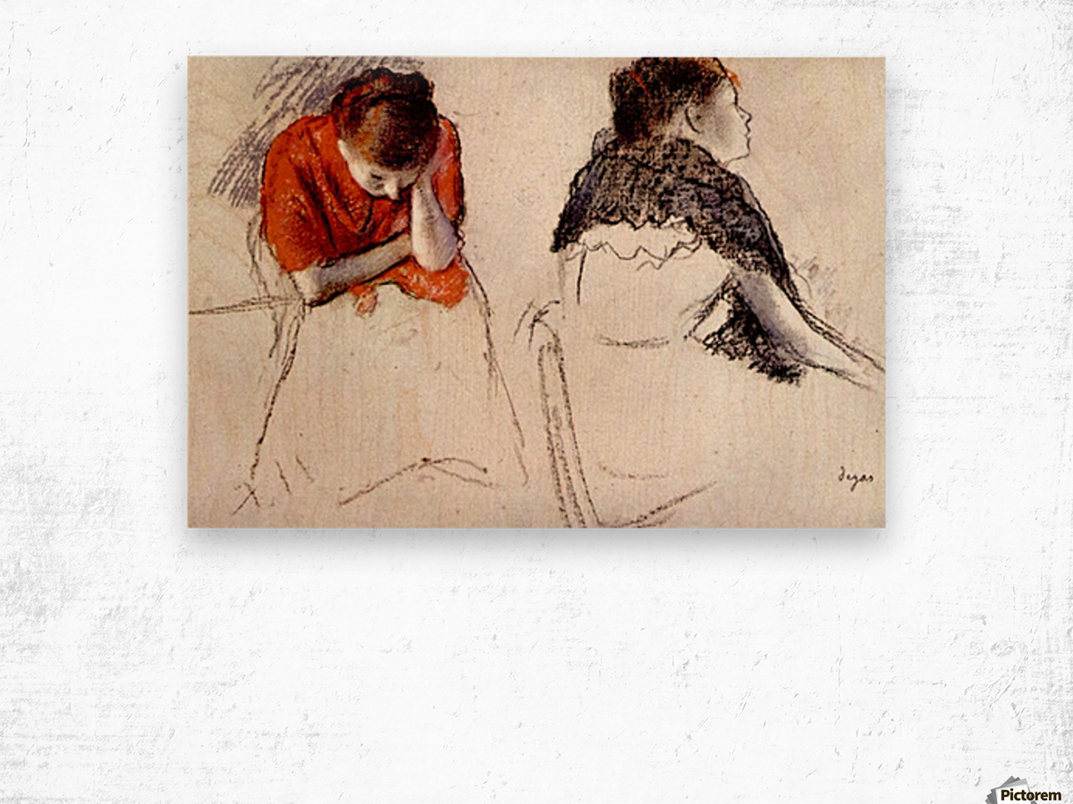 Two women seated by Degas Wood print