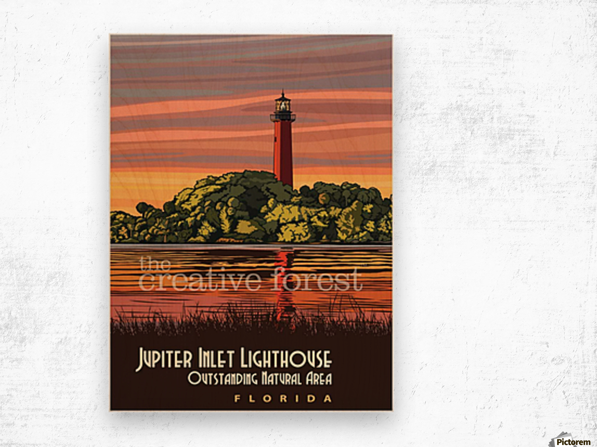 Jupiter Inlet Lighthouse, Vintage Florida Travel Reproduction Wood print