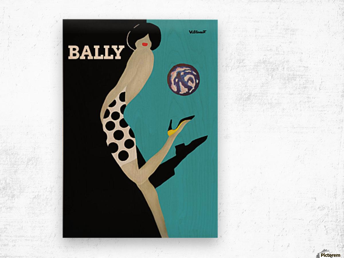 Vintage Bally Poster Giclee Print Aqua Blue Wood print