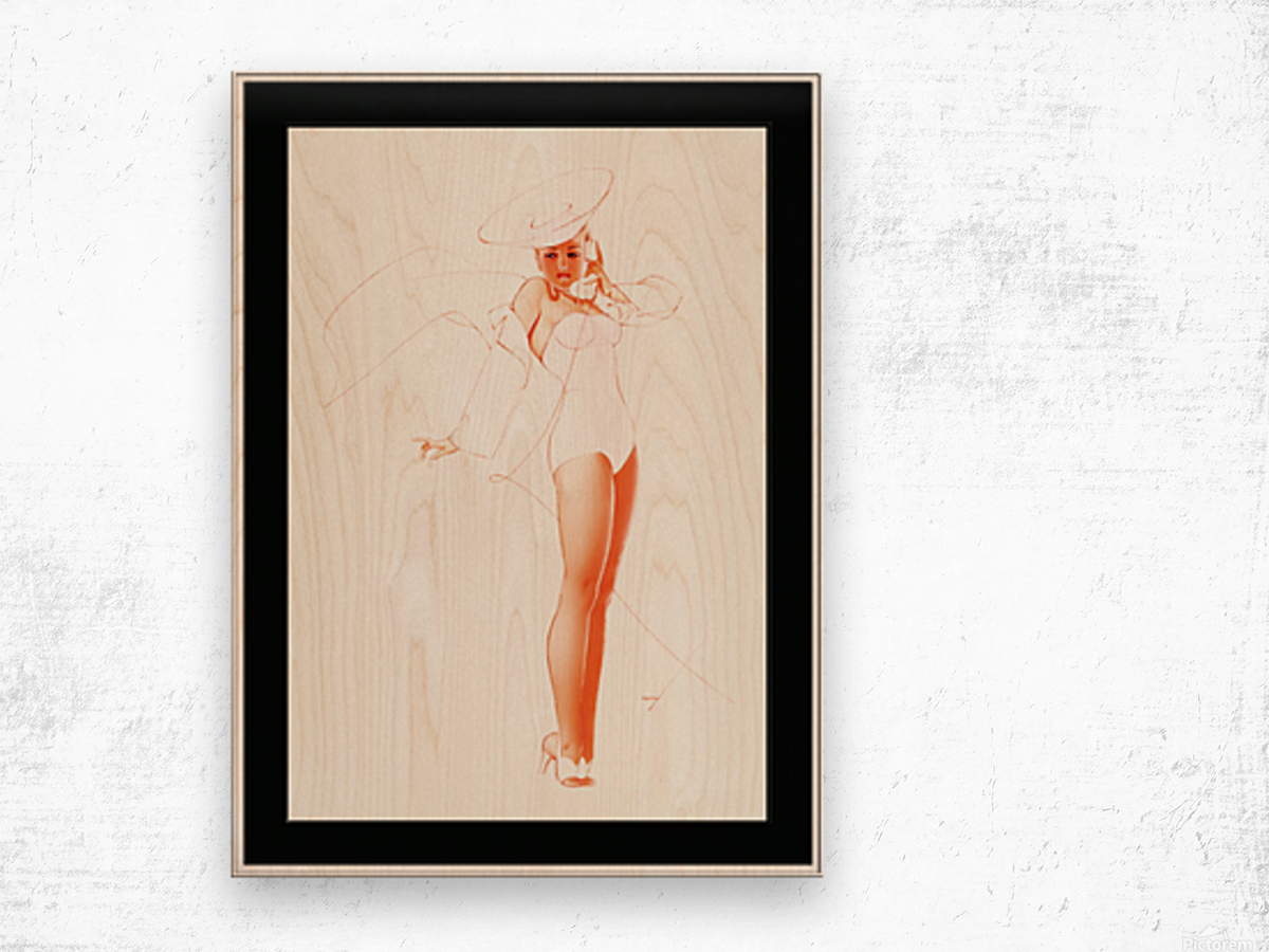 I Know What He Wants for Fathers Day by George Petty Pin-up Girl Vintage Art Wood print