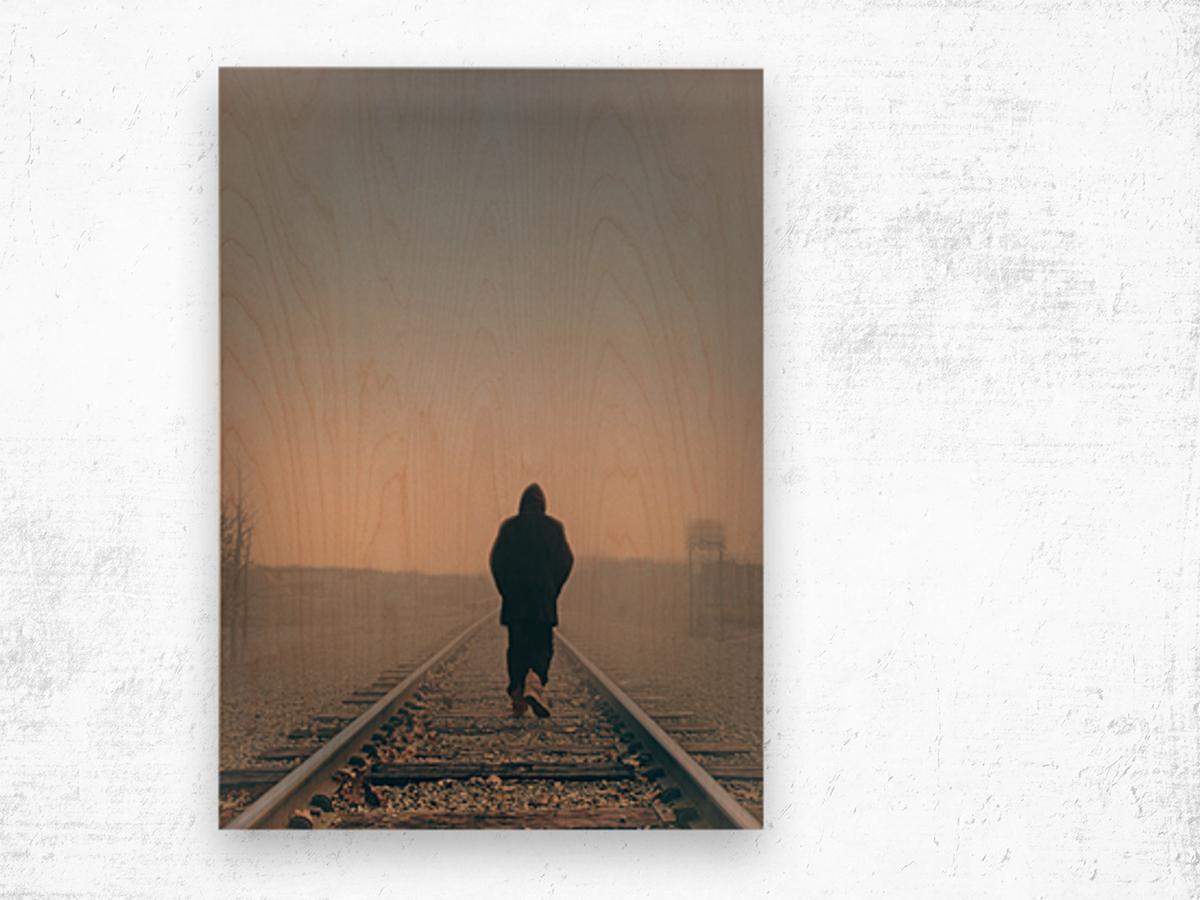 Back Walking Away Wood print
