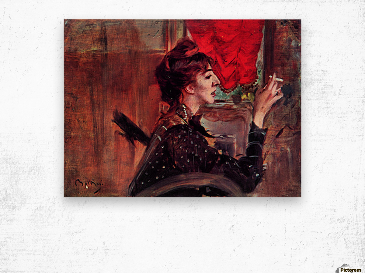 The red curtain by Giovanni Boldini Wood print