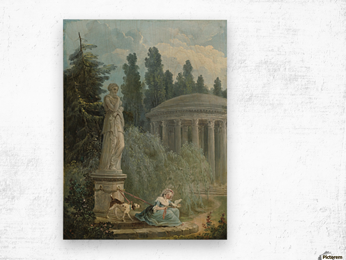 Young Girl Seated Near The Love Temple Wood print