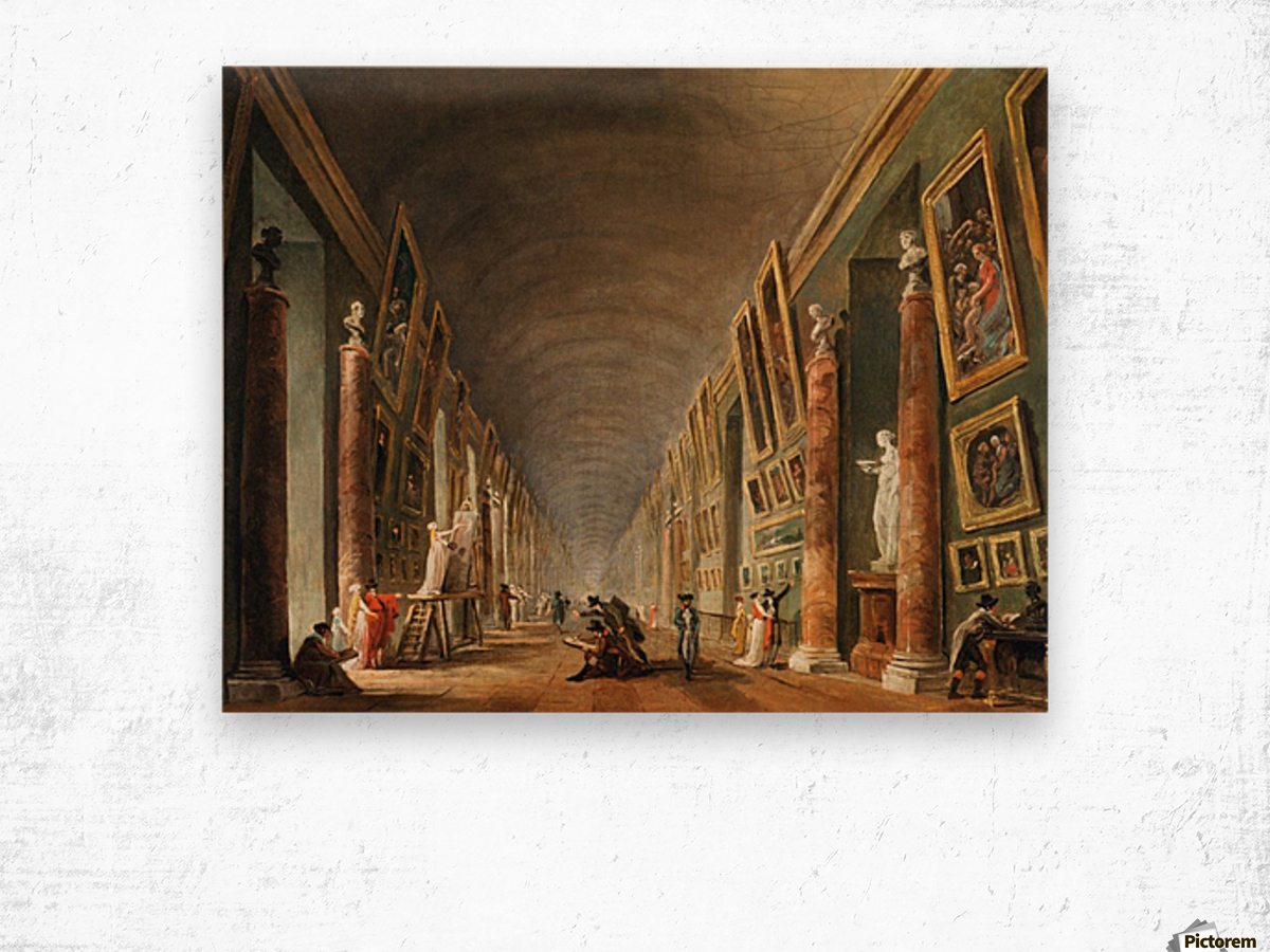 Painters in a visit at Louvre. 1790 Wood print