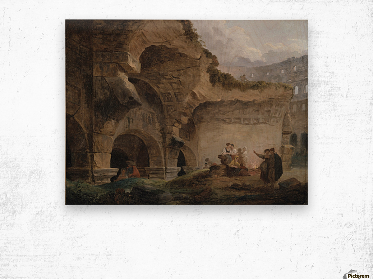 Washerwomen in the Ruins of the Colosseum Wood print