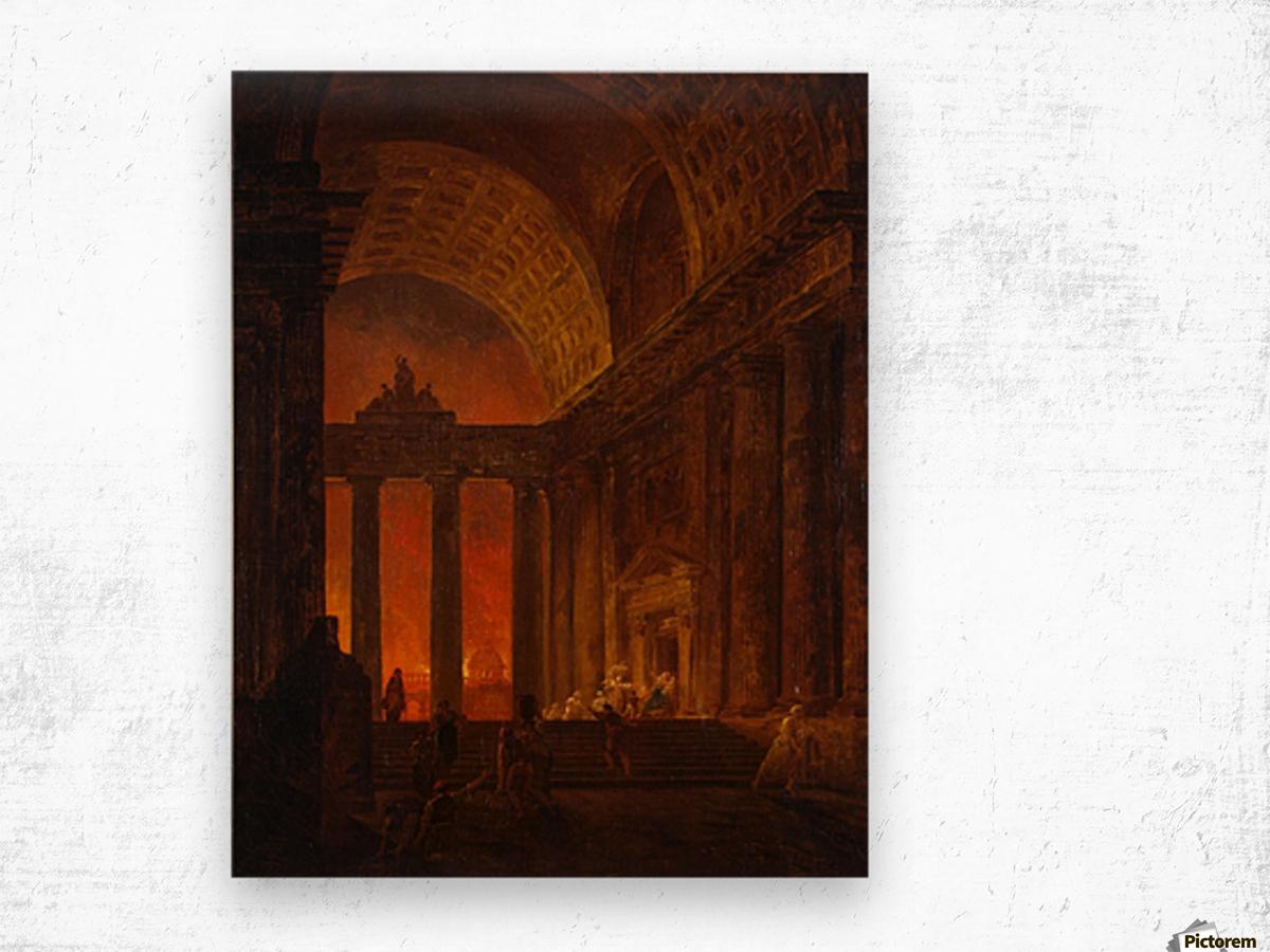 Fire in Rome Wood print
