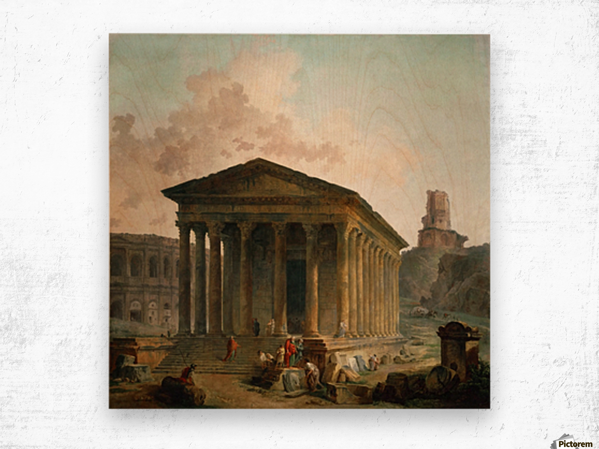 Antic ruins with figures Wood print