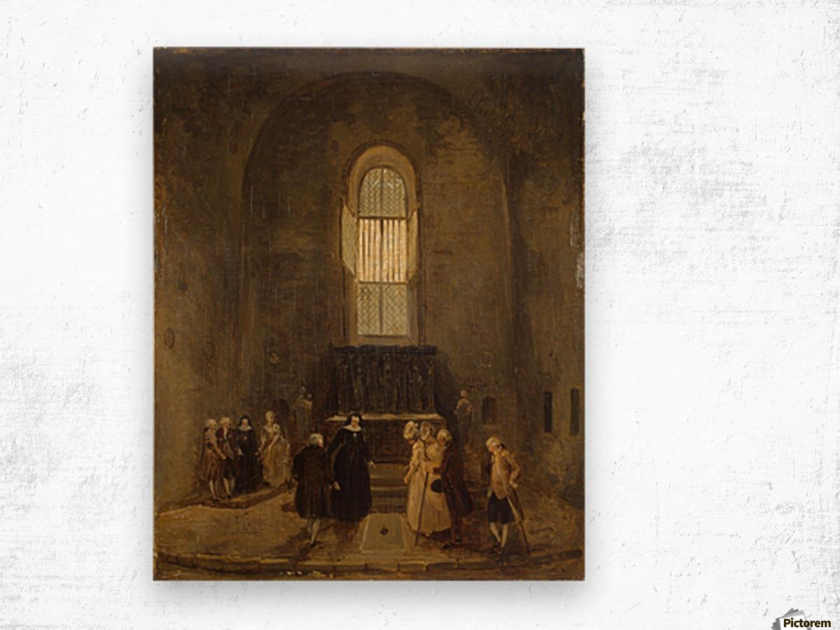 Examining an Old Church Wood print