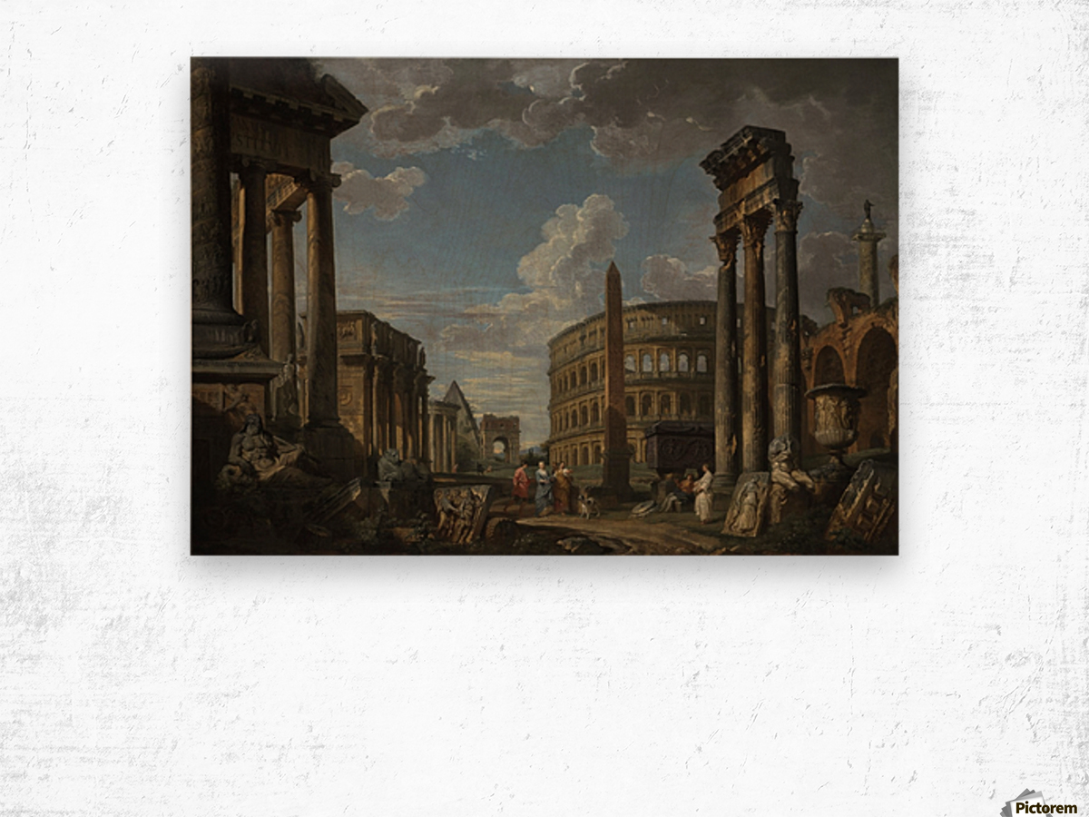 An architectural capriccio with figures among Roman ruins Wood print