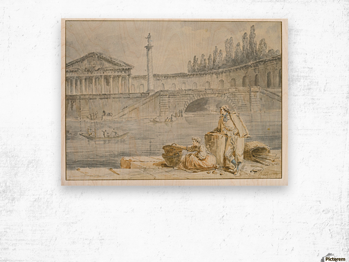 A man smoking a pipe and a woman with baskets looking out at rowing boats Wood print