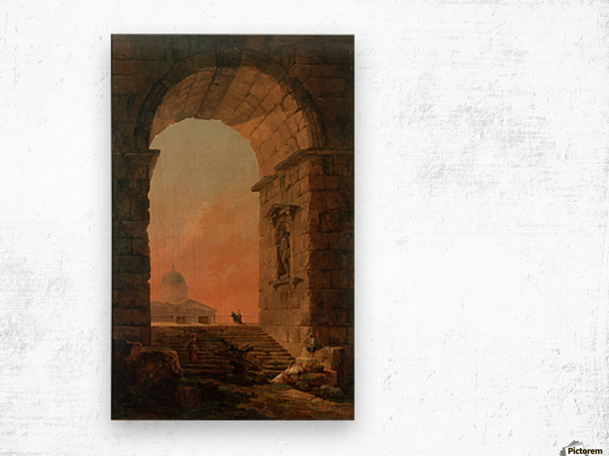 Landscape with an Arch and The Dome of Saint Peter Church in Rome Wood print