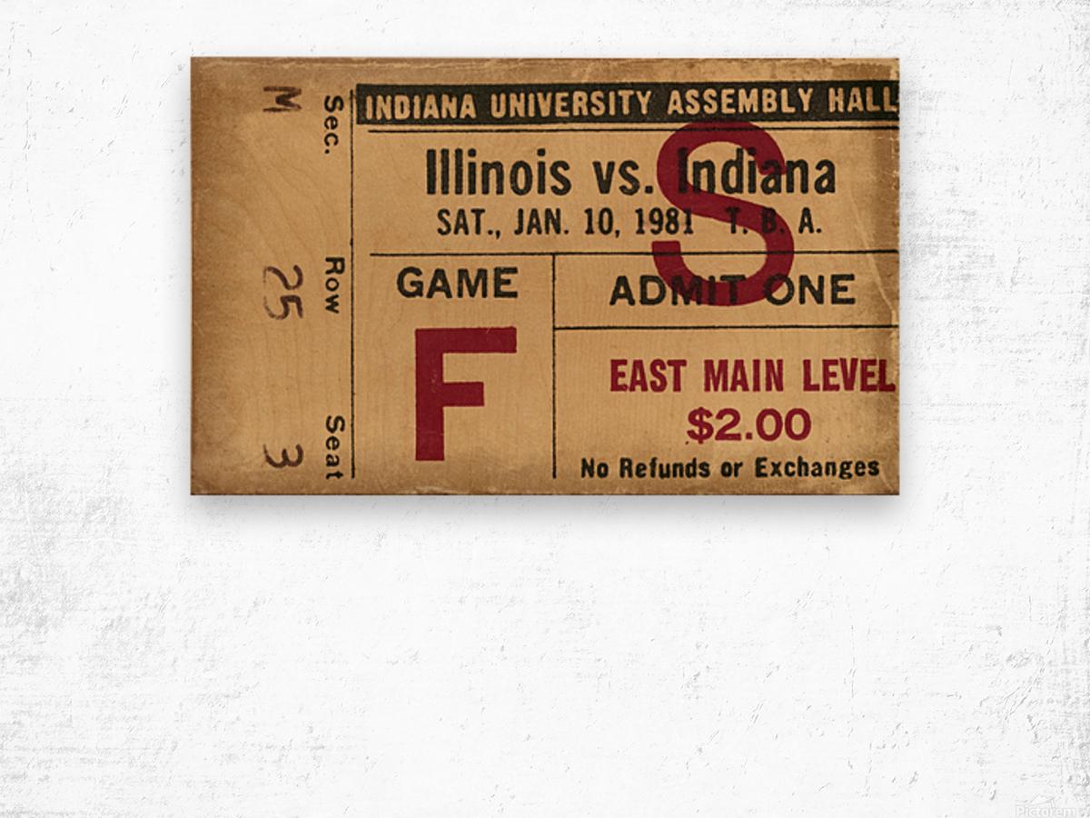 1981 Indiana vs. Illinois Basketball Ticket Art Wood print