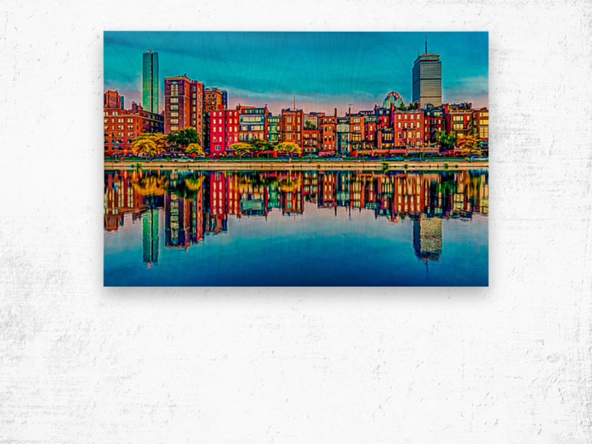 Boston Back Bay reflection Wood print