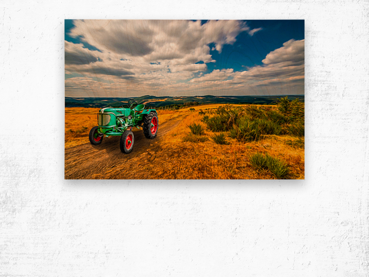 My Green Tractor Wood print