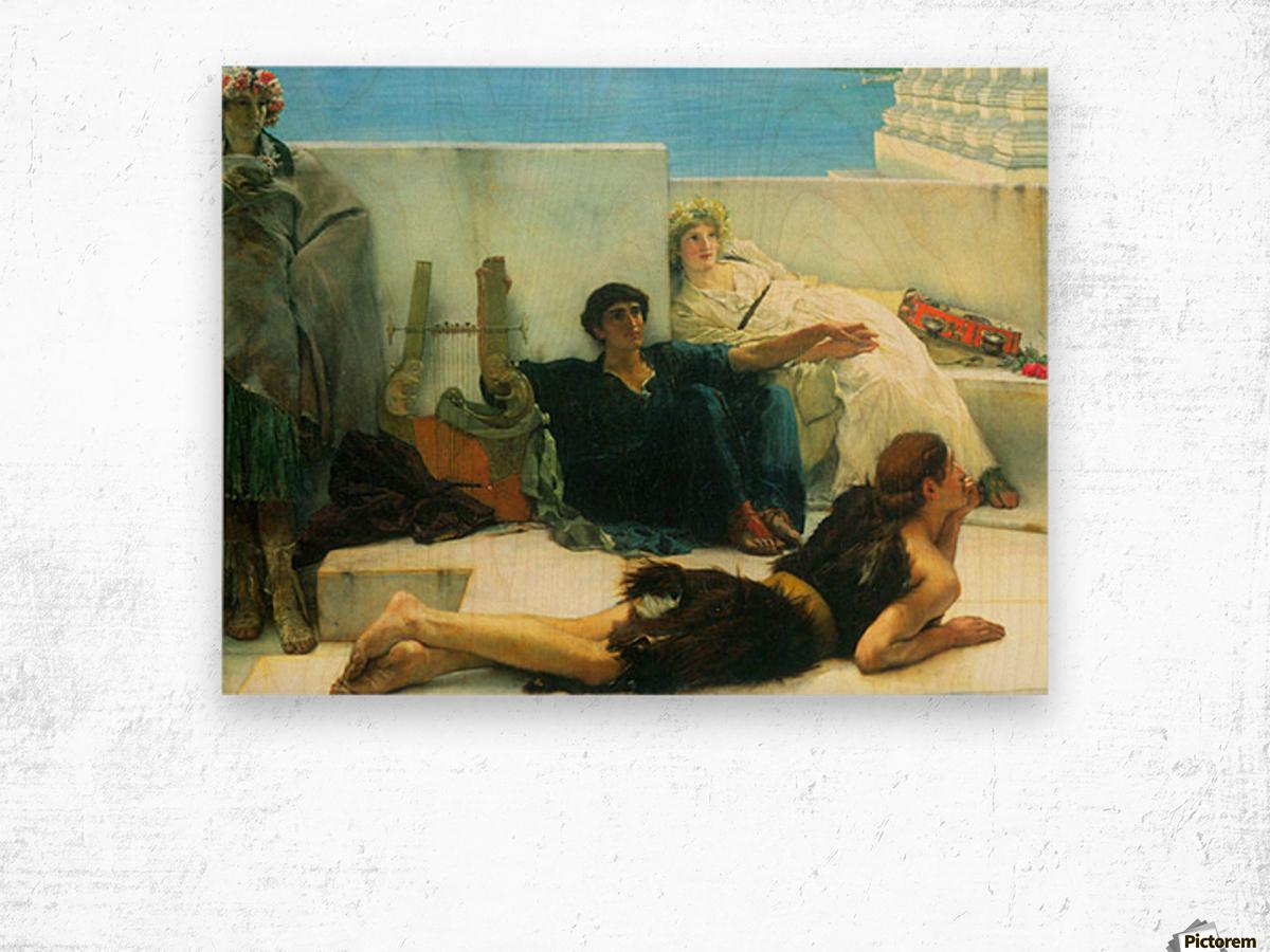 A reading of Homer, detail -1- by Alma-Tadema Wood print