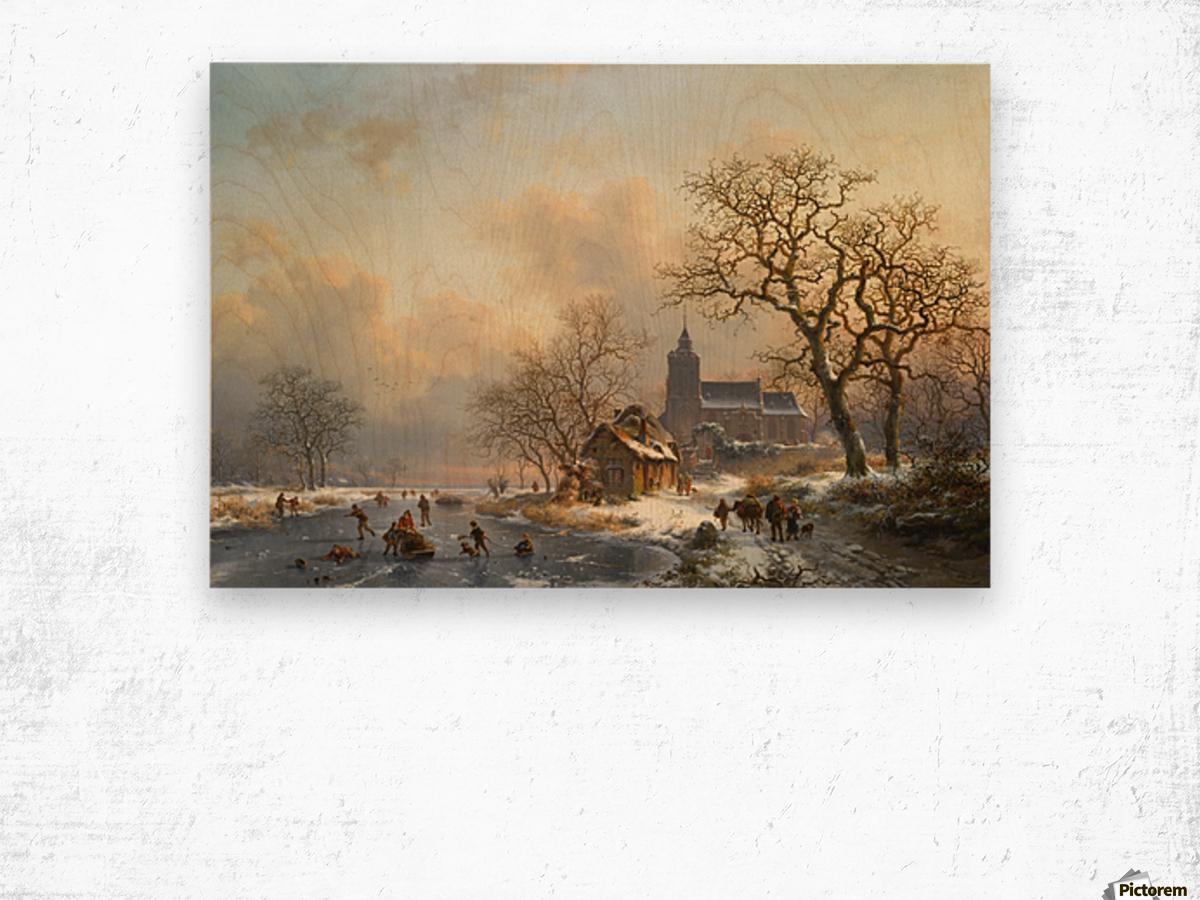 Een winterlandschap met schaatsers op een bevroren rivier Wood print