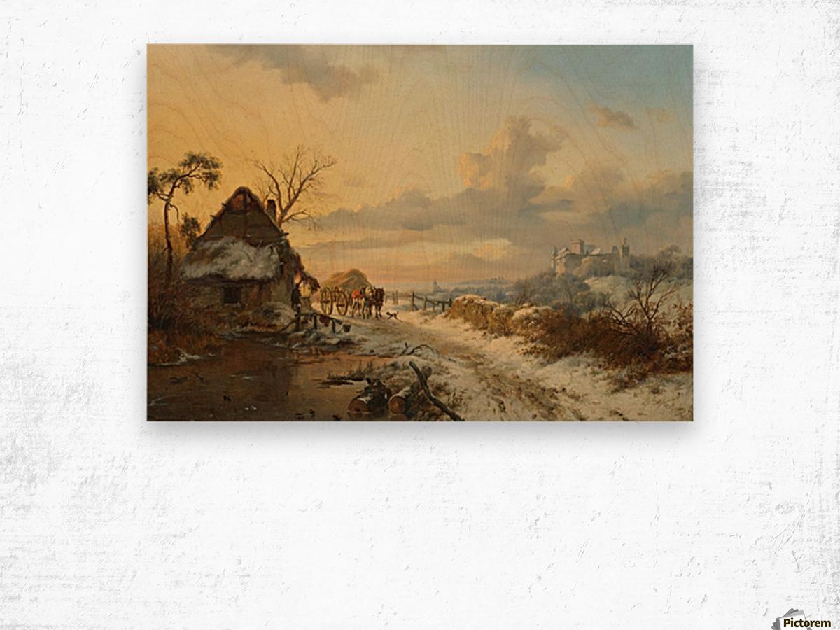 Winterlandschap met paarden en karren Wood print
