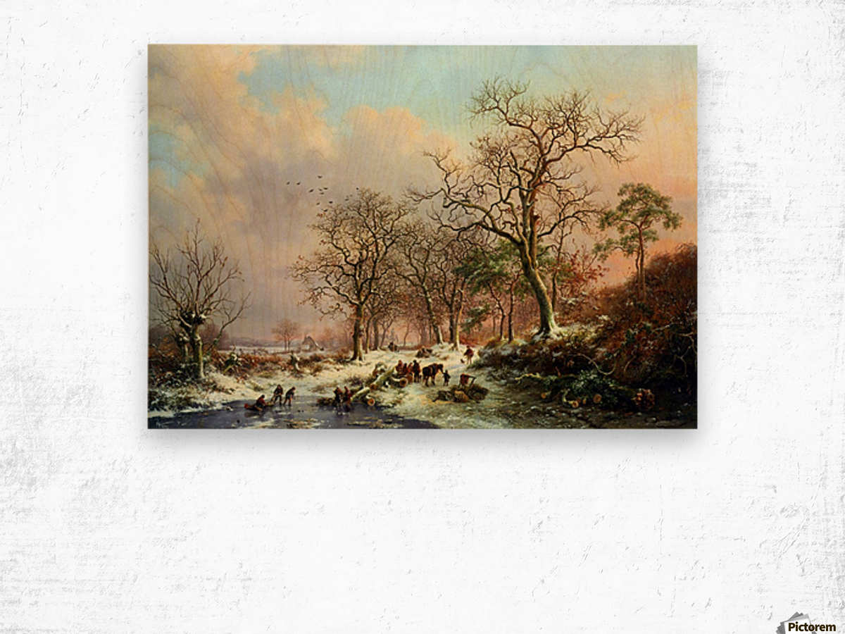 Winter landscape with figures near lake Wood print