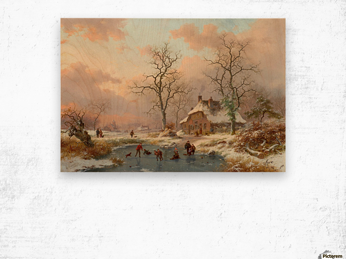 Winter landscape with figures on the frozen lake Wood print