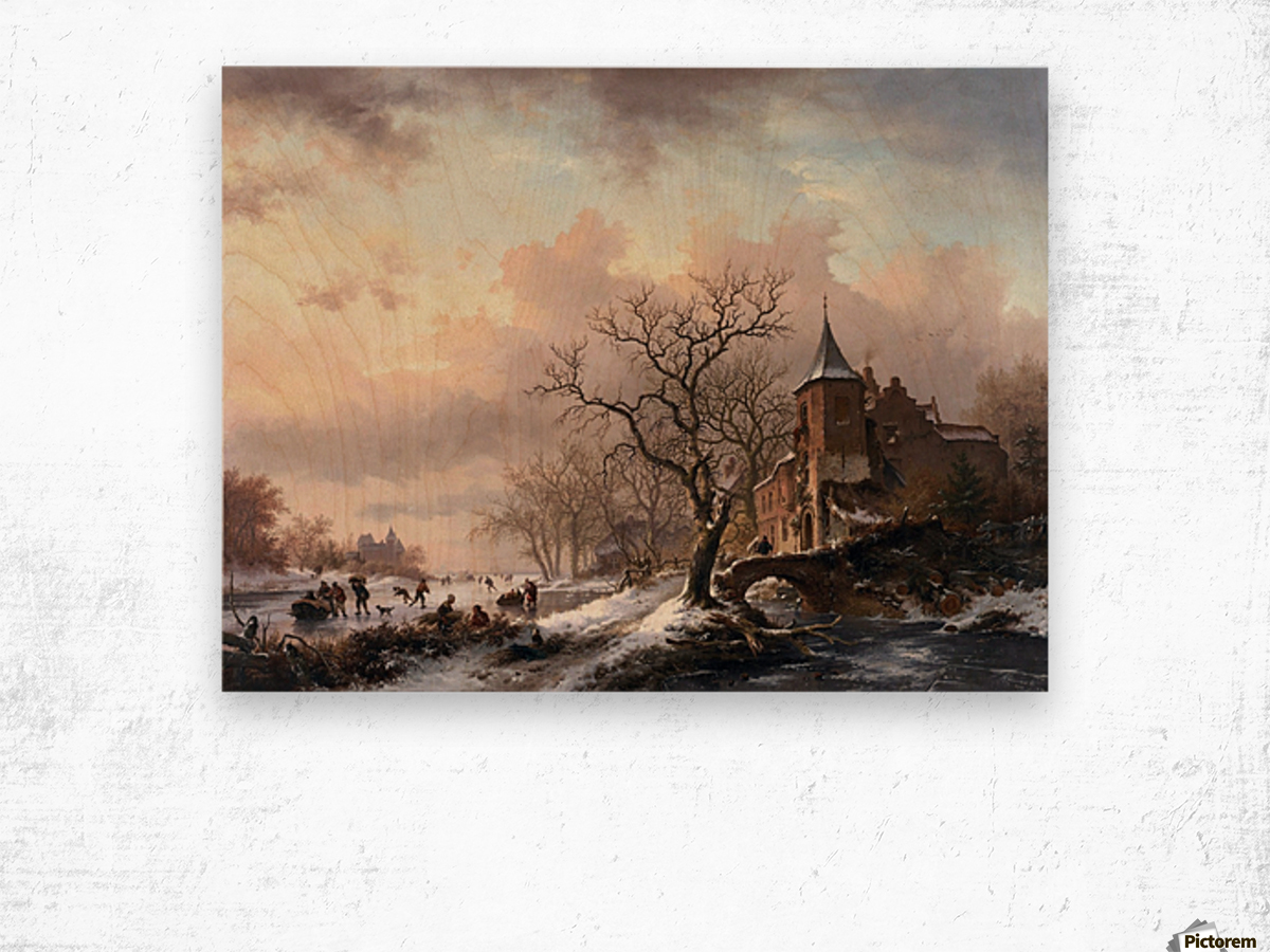 Castle in a Winter Landscape and Skaters on a Fozen River Wood print