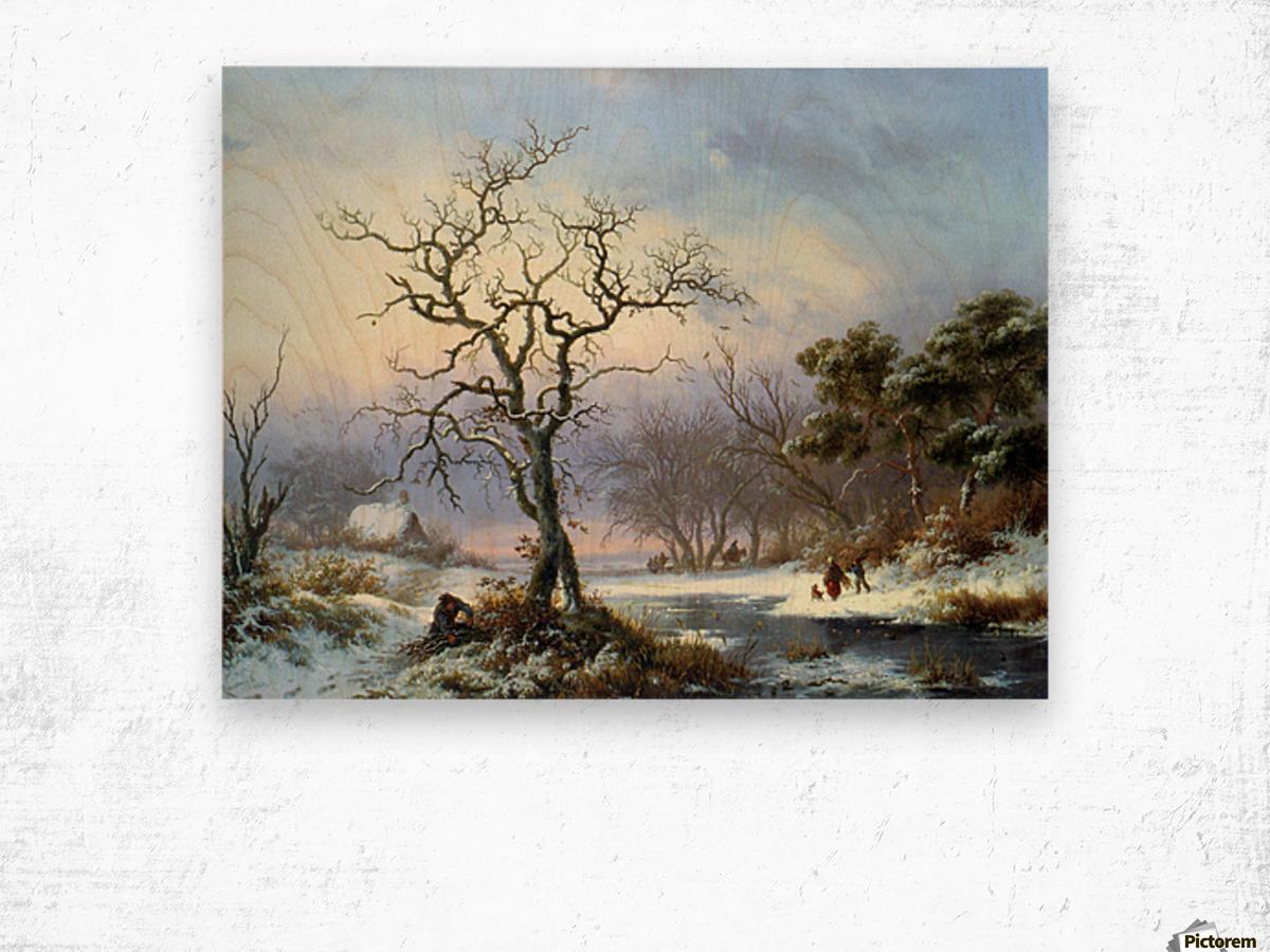 Faggot Gatherers in a Winter Landscape Wood print
