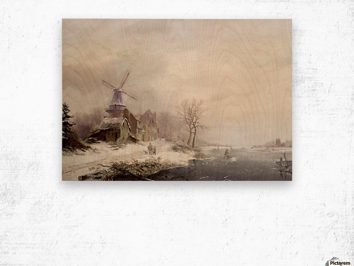 Winter landschap met gehucht, windmolen en figuren Wood print