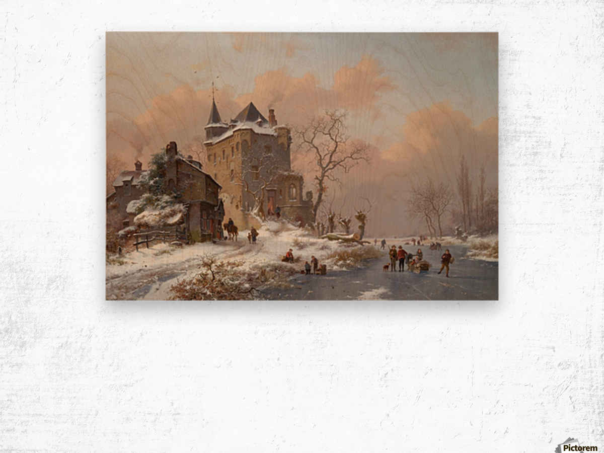 Skaters near a castle on a wintry day Wood print