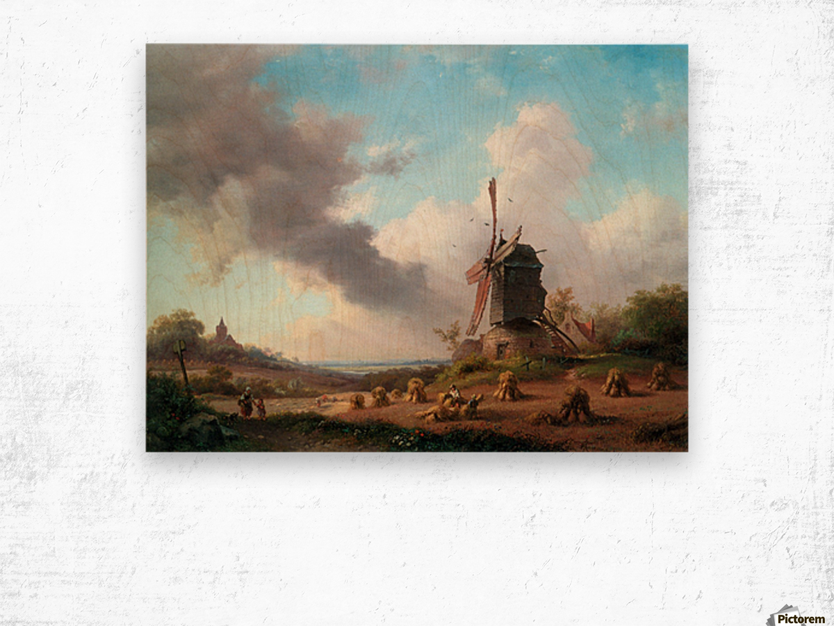 Summer Landscape with Harvesting Farmers Wood print