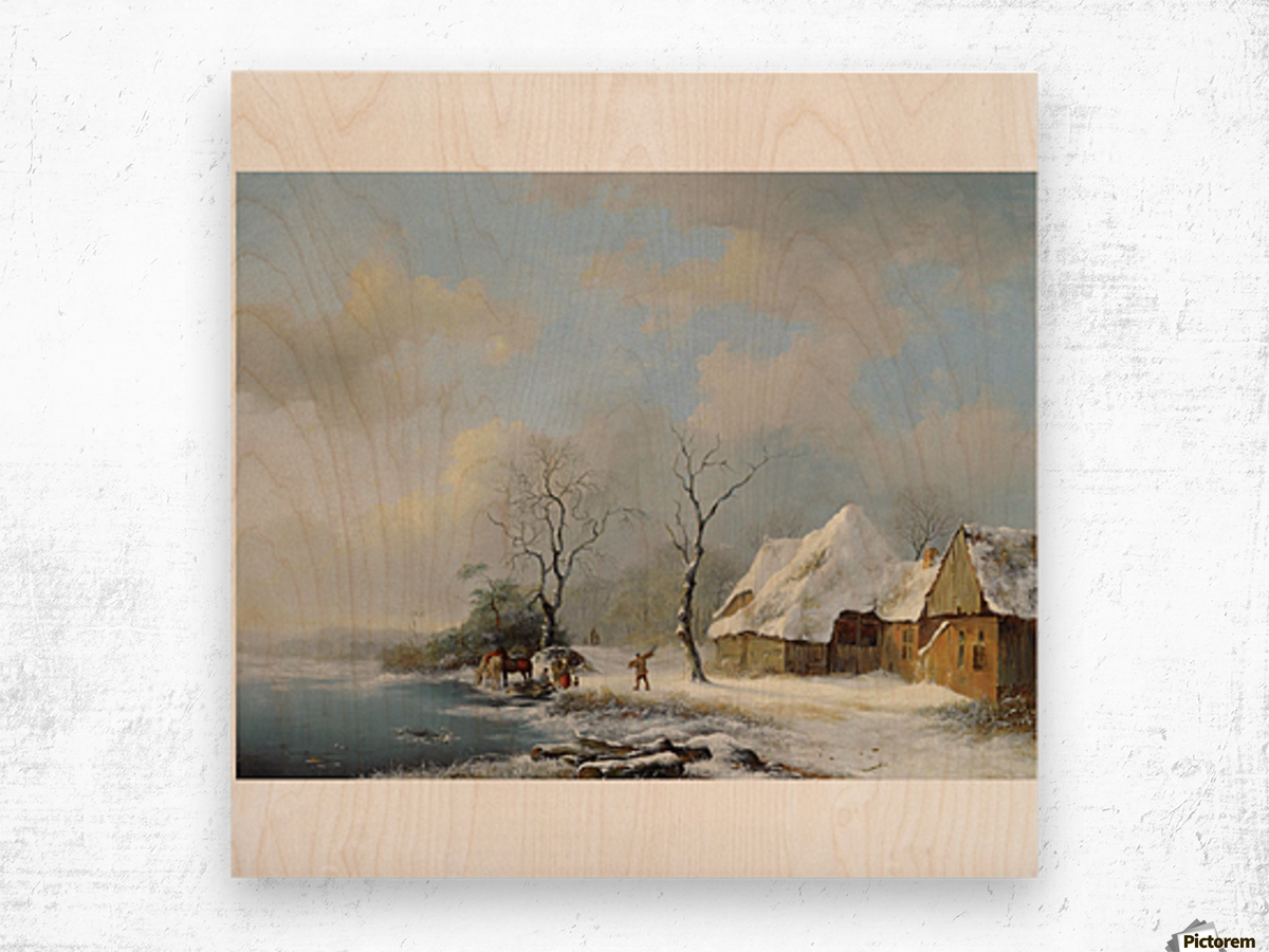 Wood Gatherers in a Snowy Landscape Wood print