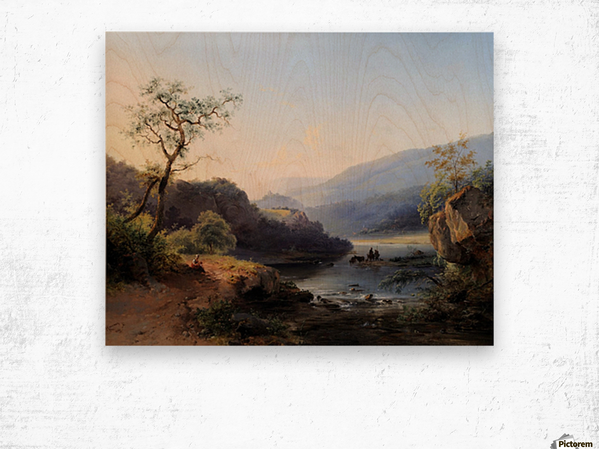 Landscape with lake and figures Wood print