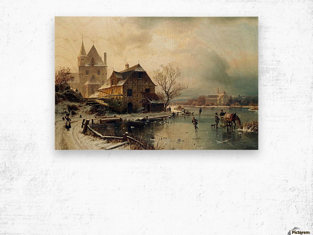 Dutch winter landscape with skaters Wood print