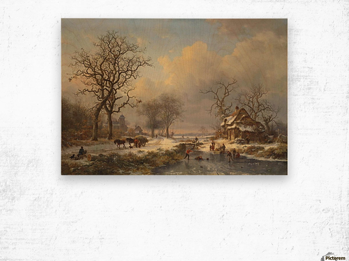Winter landscape with children playing on the ice Wood print