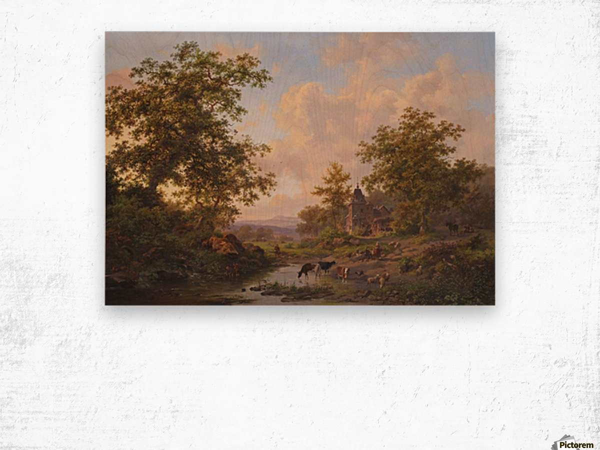 A sunlit river landscape with shepherds resting near a stream Wood print