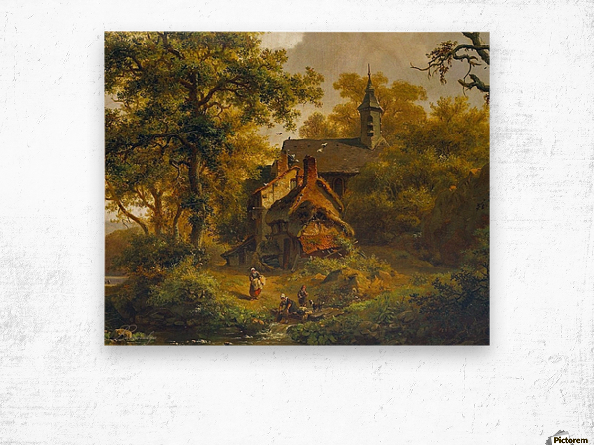Tranquil landscape with women washing by a stream with cattle and sheep resting Wood print