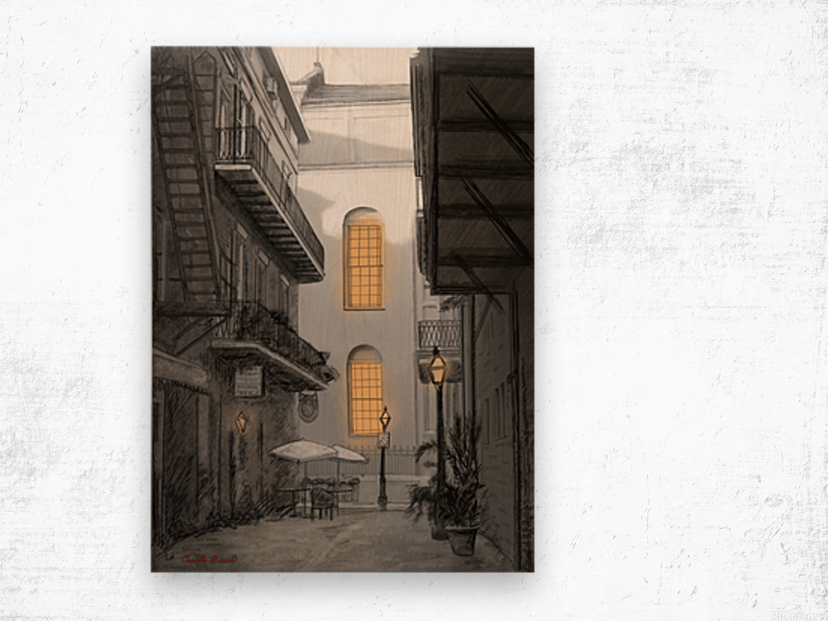 Light in the alley a French quarter scene Wood print