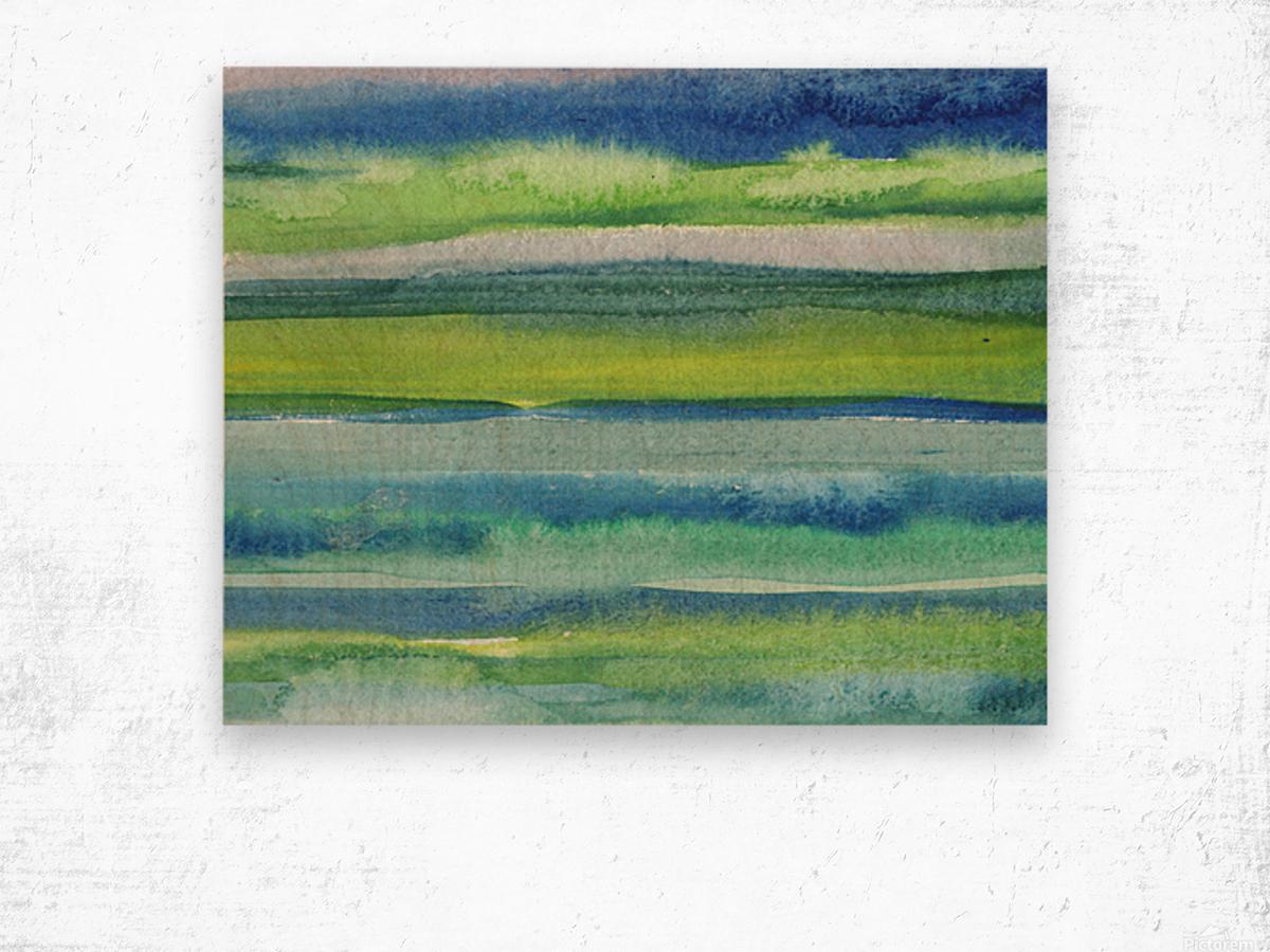 Ocean And Sea Beach Coastal Art Organic Watercolor Abstract Lines II Wood print