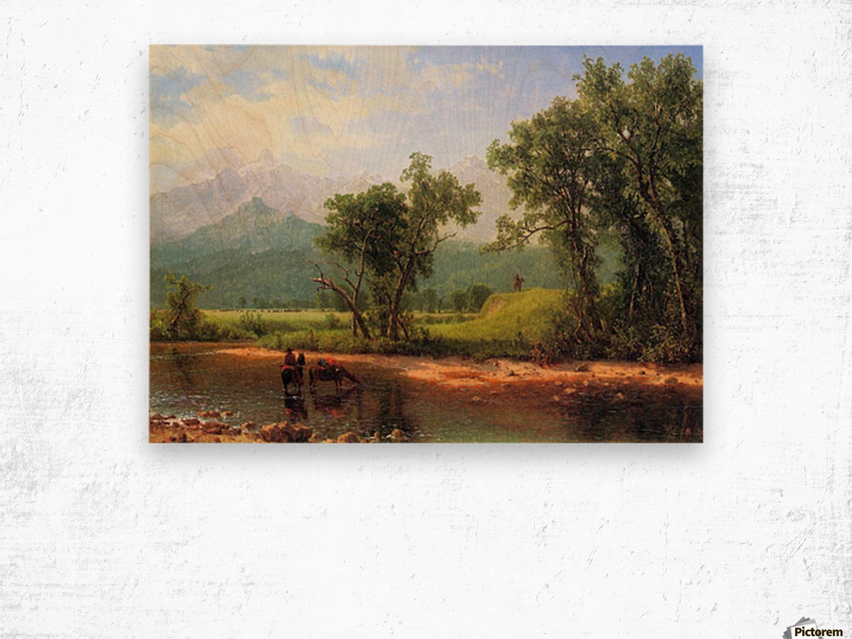 Wind River Mountains, landscape in Wyoming by Bierstadt Wood print