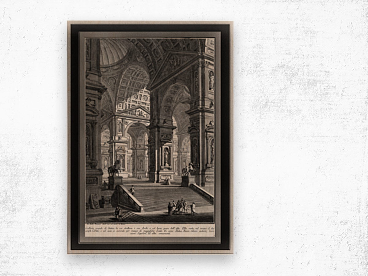 Large Sculpture Gallery Built On Arches by Giovanni Battista Piranesi Classical Fine Art Xzendor7 Old Masters Reproductions Wood print
