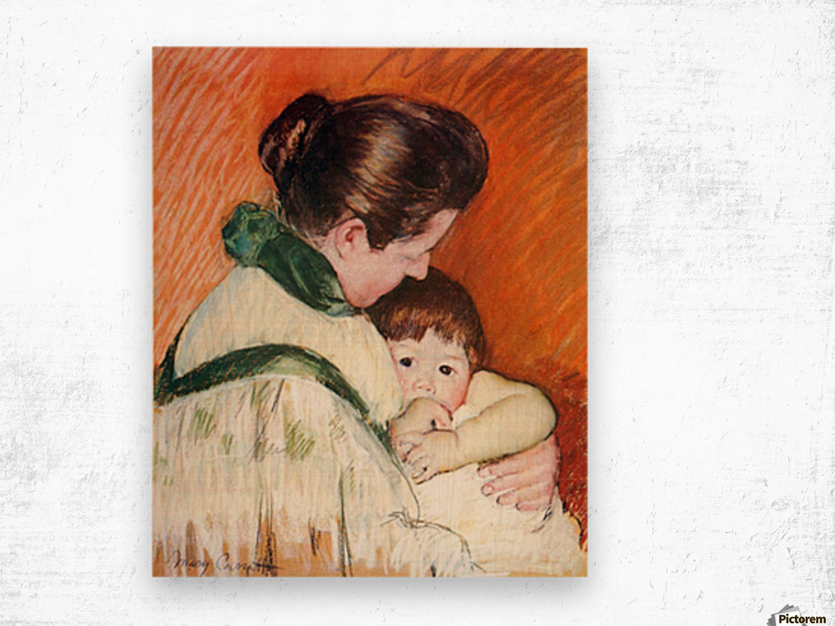 Woman and Child by Cassatt Wood print