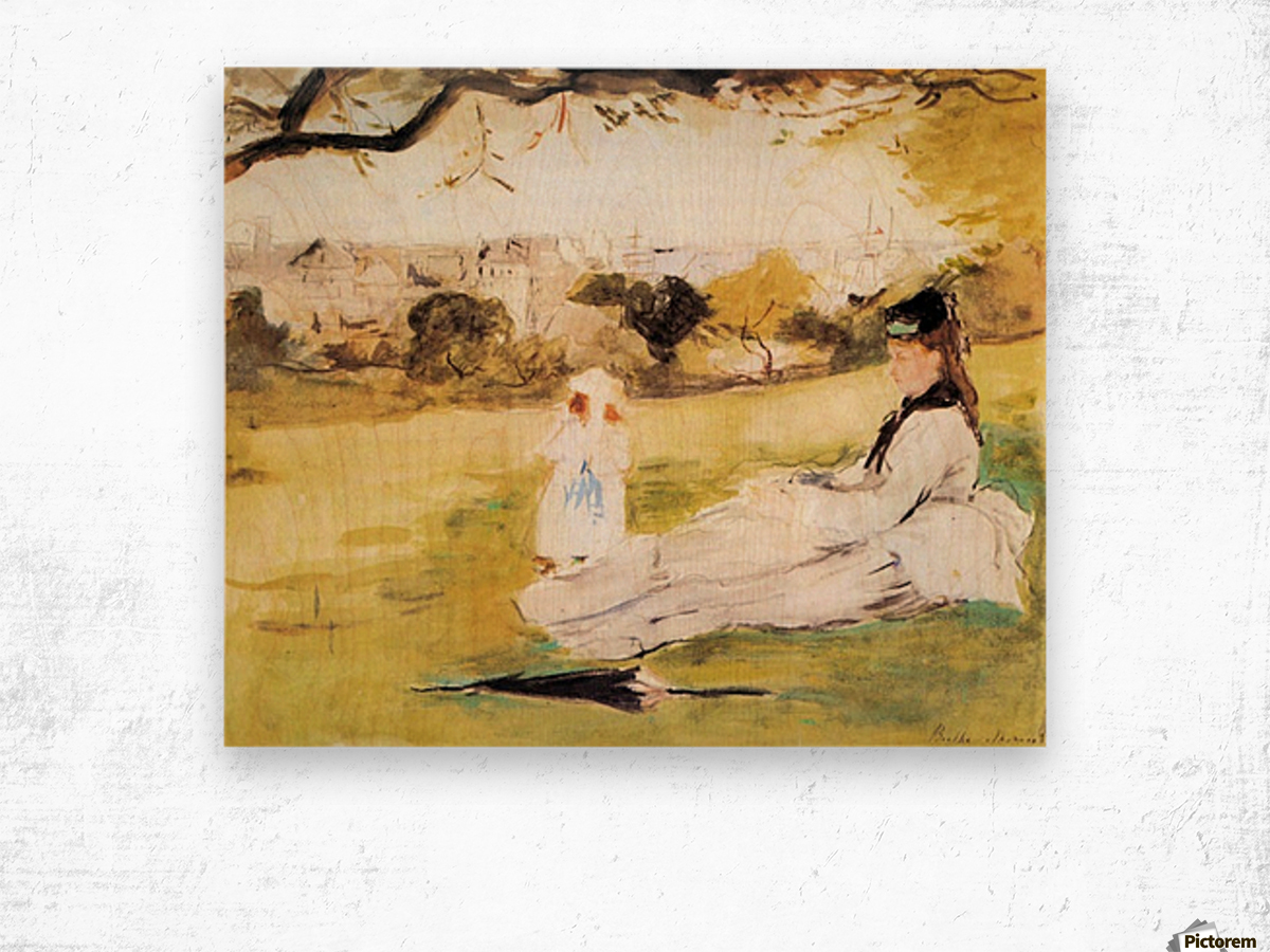 Woman and child sitting in a field by Morisot Wood print