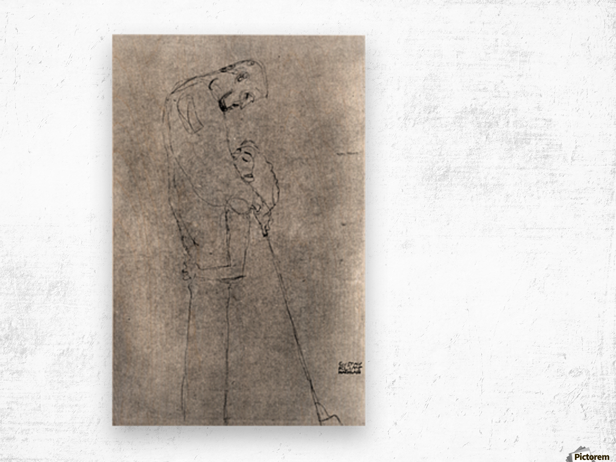 Woman and man standing in profile by Klimt Wood print
