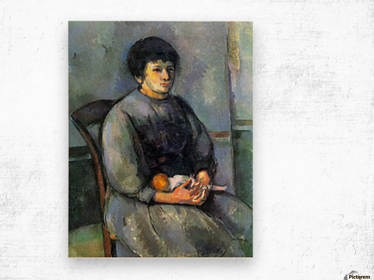 Woman with Doll by Cezanne Wood print