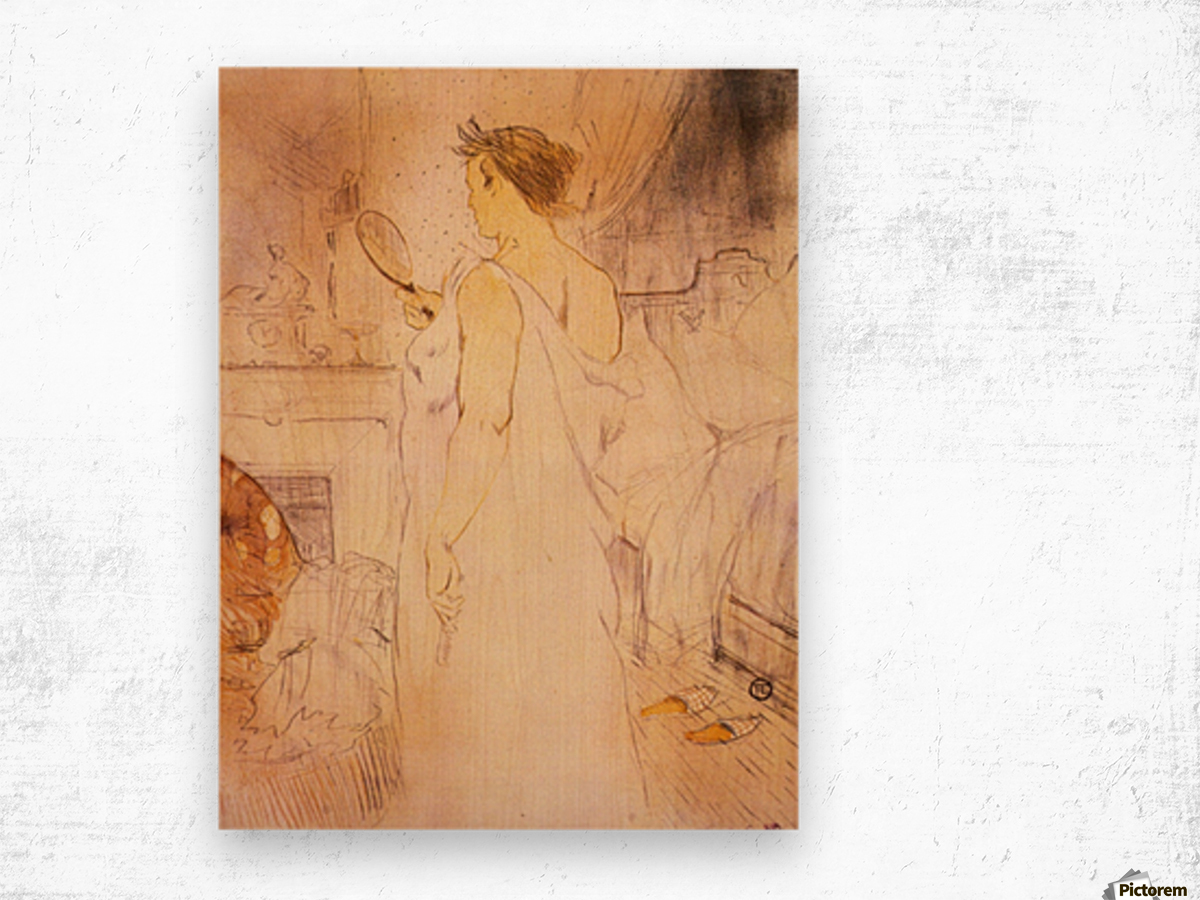Woman with mirror by Toulouse-Lautrec Wood print