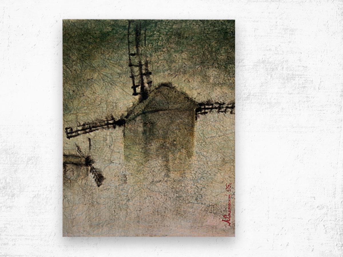 Windmills in the fog Wood print