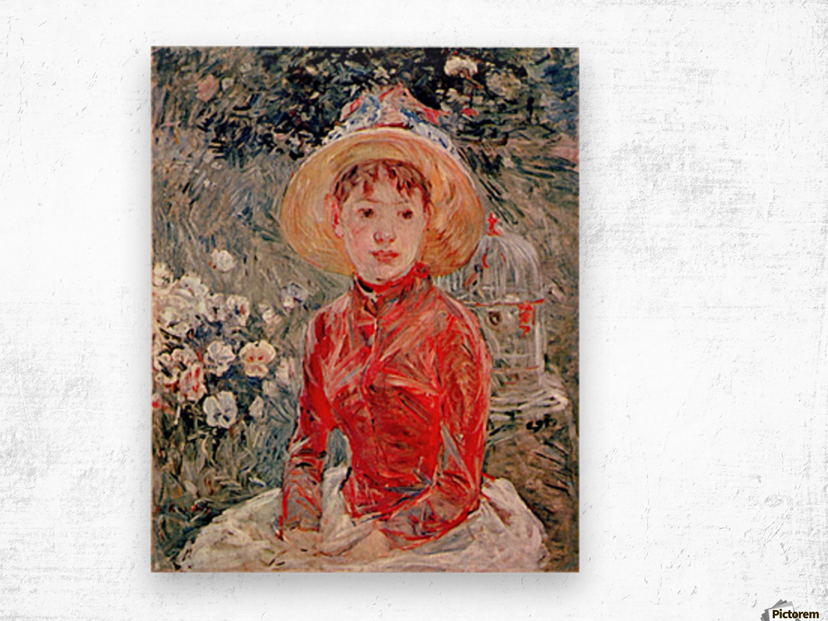 Young girl with cage by Morisot Wood print
