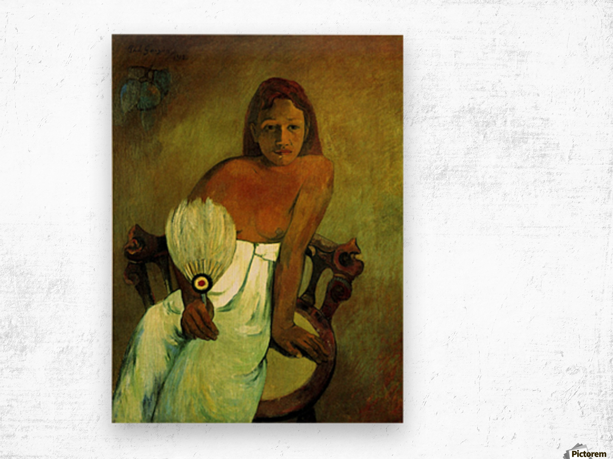 Young Girl with Fan by Gauguin Wood print