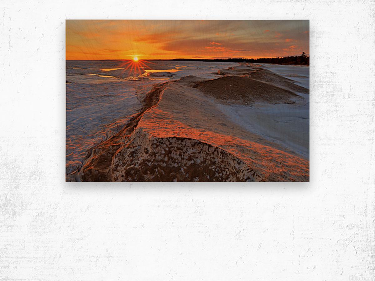 Icy Sunset  Naubinway Michigan Wood print