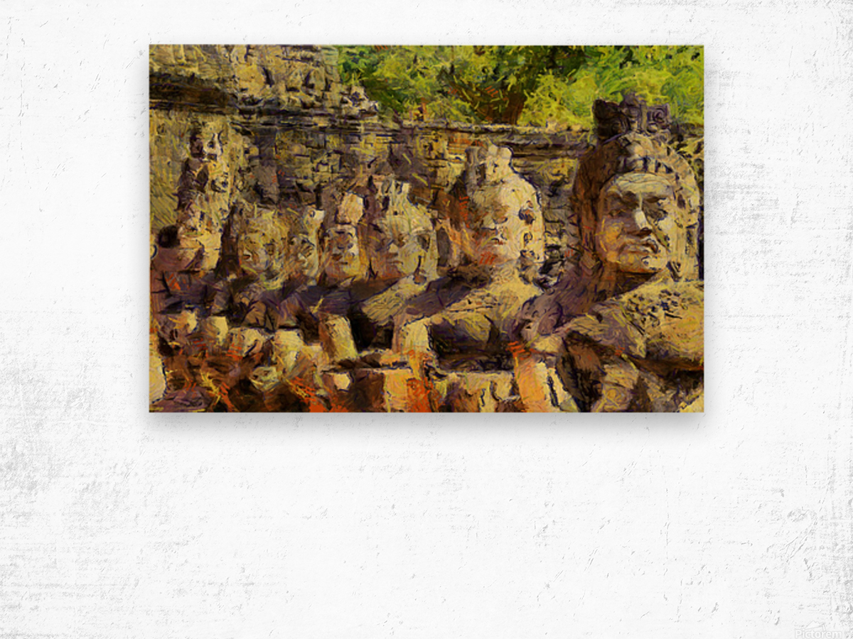 CAMBODIA Angkor Wat oil painting in Vincent van Gogh style. 141 Wood print
